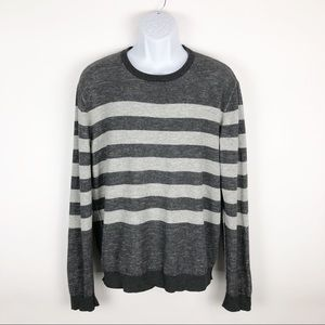 AEROPOSTALE Mens Striped Gray Crewneck Sweater